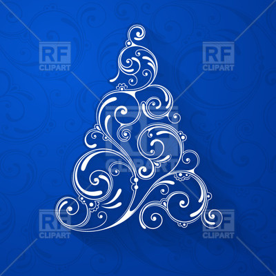 Curly Christmas Tree Download Royalty Free Vector Clipart  Eps