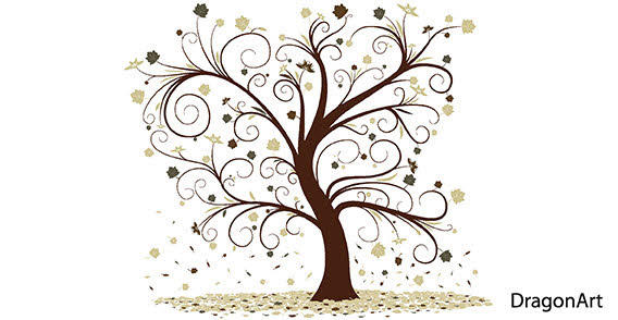 Curly Tree Design Vector