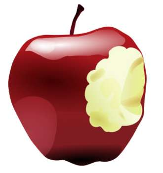 Free Clipart Picture Of A Red Apple With A Bite Taken