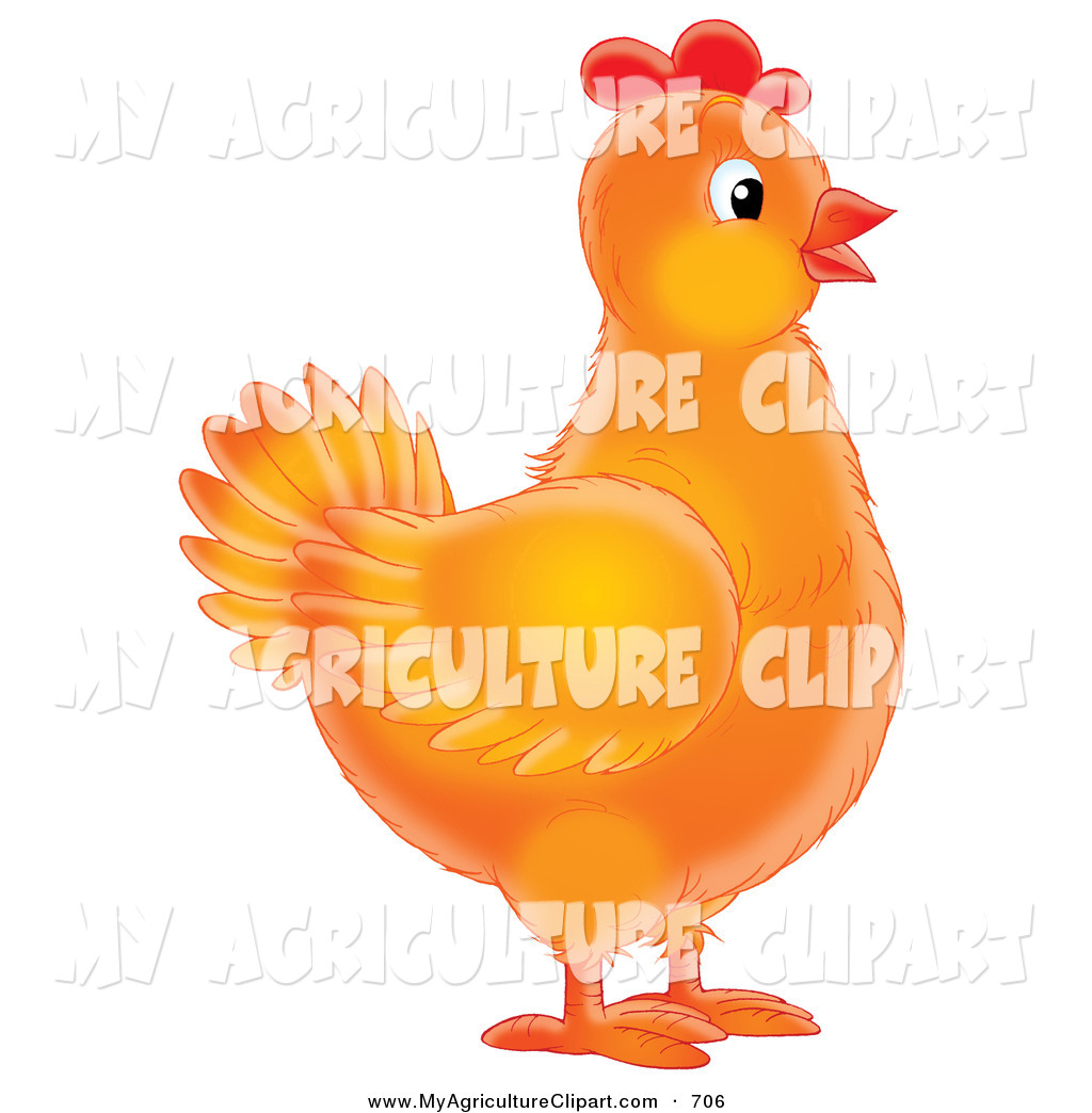 Larger Preview  Agriculture Clipart Of A Orange Female Chicken In