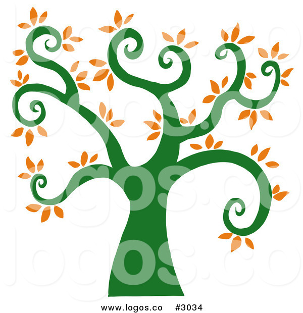 Royalty Free Vector Of A Curly Branch Tree Logo By Hit Toon    3034
