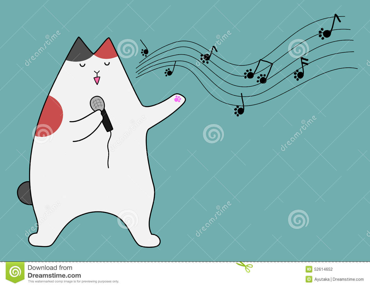 Singing Cat Stock Vector   Image  52614652
