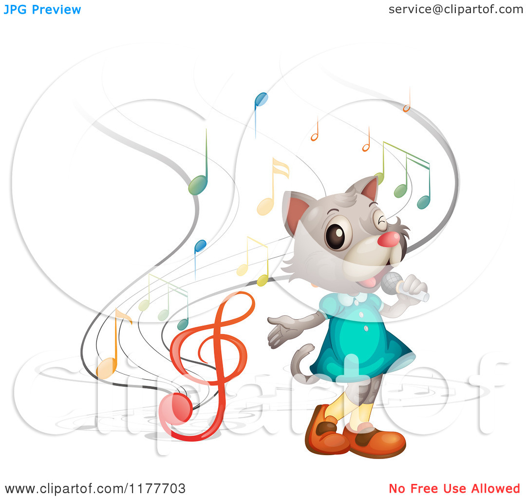 Singing Cat With Music Notes   Royalty Free Vector Clipart By Iimages