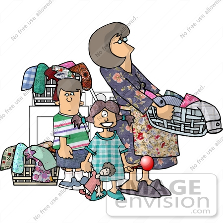 Stay At Home Mom Doing Laundry With Her Two Children Clipart By Djart