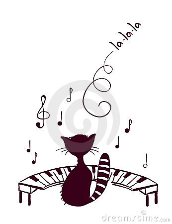 Vector Illustration   Hilarious Musical Cat And Piano