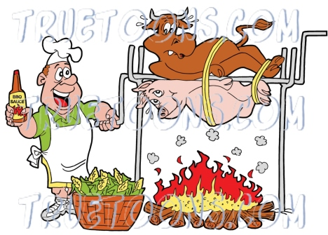 Bbq Bbq Pork Bbq Sauce Beef Bull Bulls Cartoon Cartoons Cartoony Chef