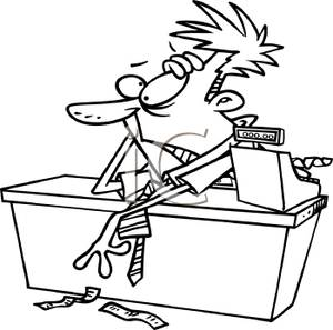 Black And White Cartoon Of A Stressed Cashier   Royalty Free Clipart