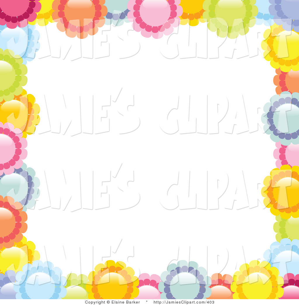 Border Of Colorful Pink Yellow Orange Blue And Green Daisy Flowers