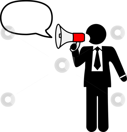 Business Symbol Man To Broadcast Talk In Bullhorn Stock Vector Clipart