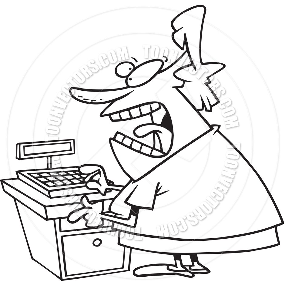 Cartoon Angry Cashier  Black And White Line Art  By Ron Leishman