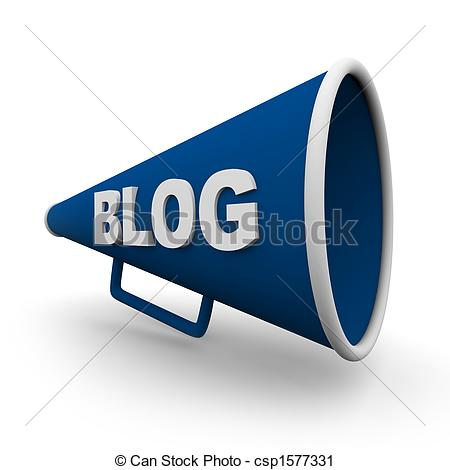 Clipart Of Blog Bullhorn   Isolated   A Blue Bullhorn Or Megaphone