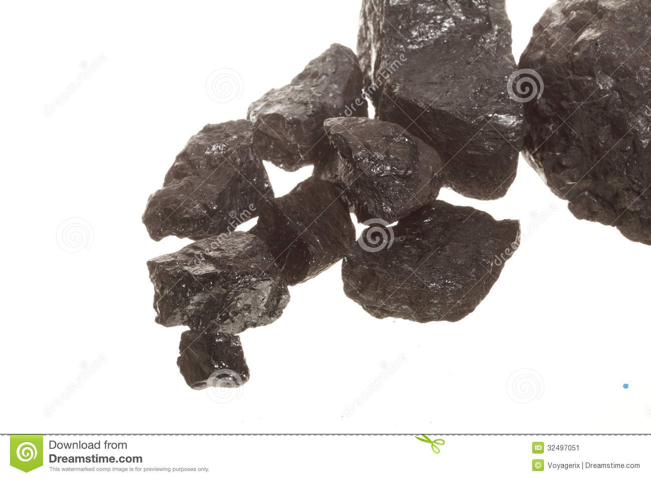 Coal Lumps Carbon Nugget Isolated On White  Power And Energy Source