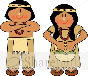 Cute Native American Man And Woman   Thanksgiving Clipart