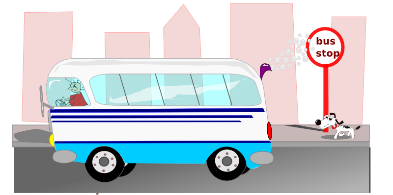 Free Mini Bus Leaving The Bus Stop Clip Art