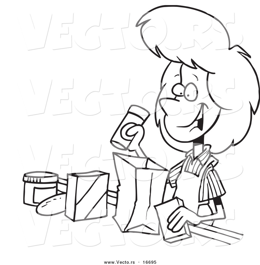 Larger Preview  Vector Of A Cartoon Friendly Cashier Bagging Groceries