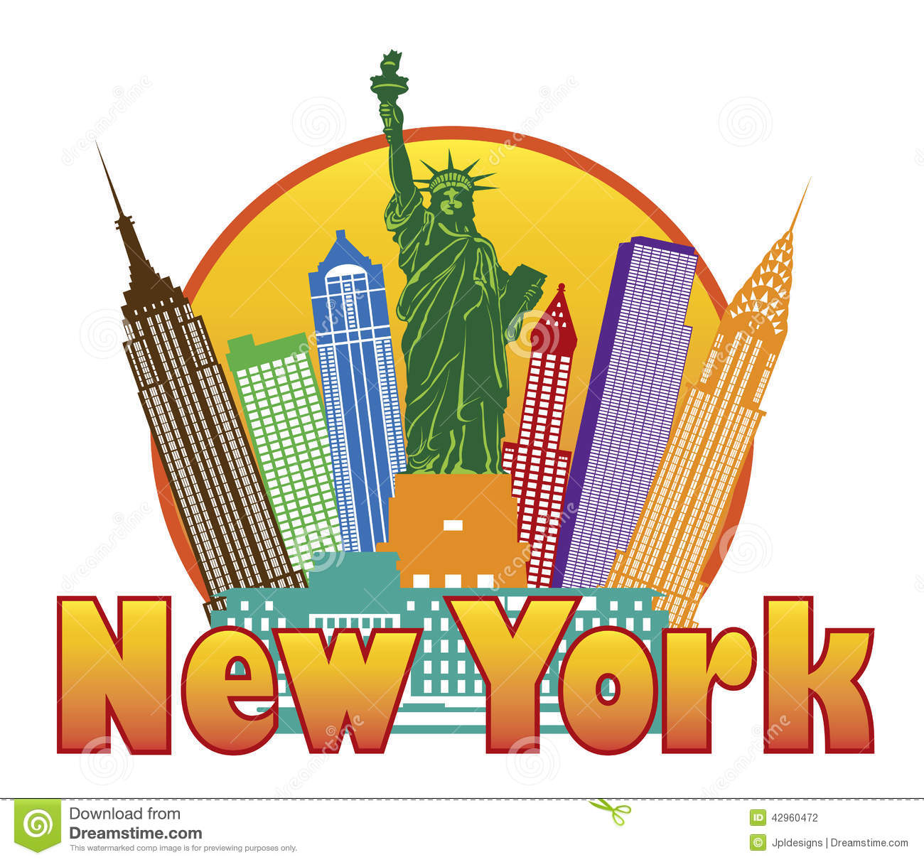 New York City Colorful Skyline With Statue Of Liberty In Circle