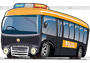 Police Mini Bus   Vector Clipart
