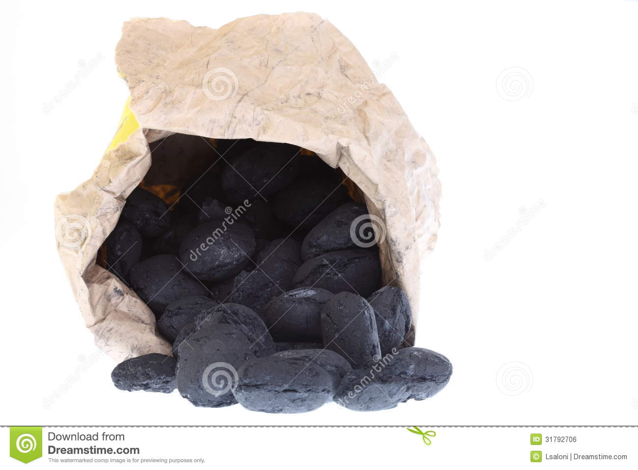 Sack Bag Isolated Coal Carbon Nuggets Royalty Free Stock Image