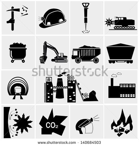 Vector Black Coal Mining Industry Icons Set   Stock Vector