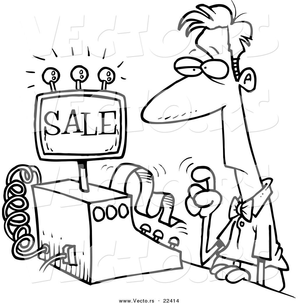 Cashier Cartoons: Cashier Black And White Clipart