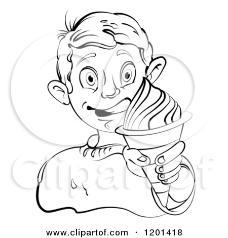 Boy On The Beach Licking An Ice Cream Cone Royalty Free Clipart