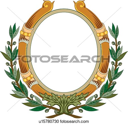 Brown Circle Frame With Green Leaf Decoration View Large Clip Art
