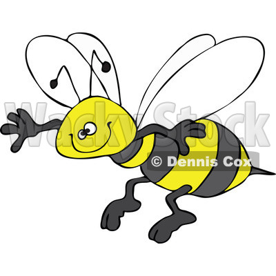 Clipart Happy Honey Bee Grinning And Flying   Royalty Free Vector