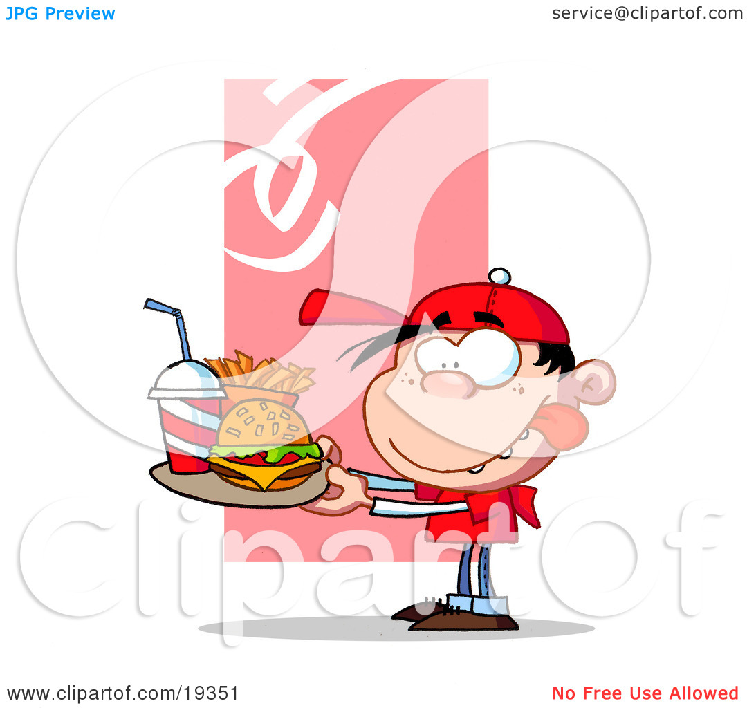 Clipart Illustration Of A Hungry Boy In Red Licking His Lips And