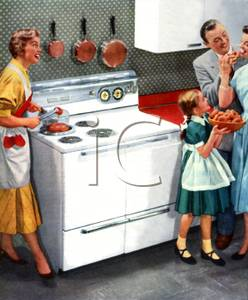 Clipart Image Of A Family From The 50 S Around A Kitchen Stove
