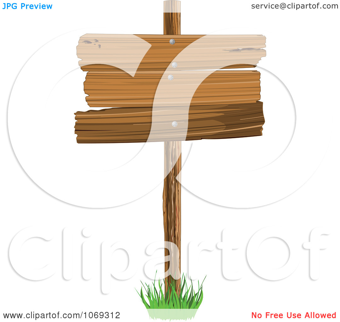 Clipart Wooden Plank Sign   Royalty Free Vector Illustration By
