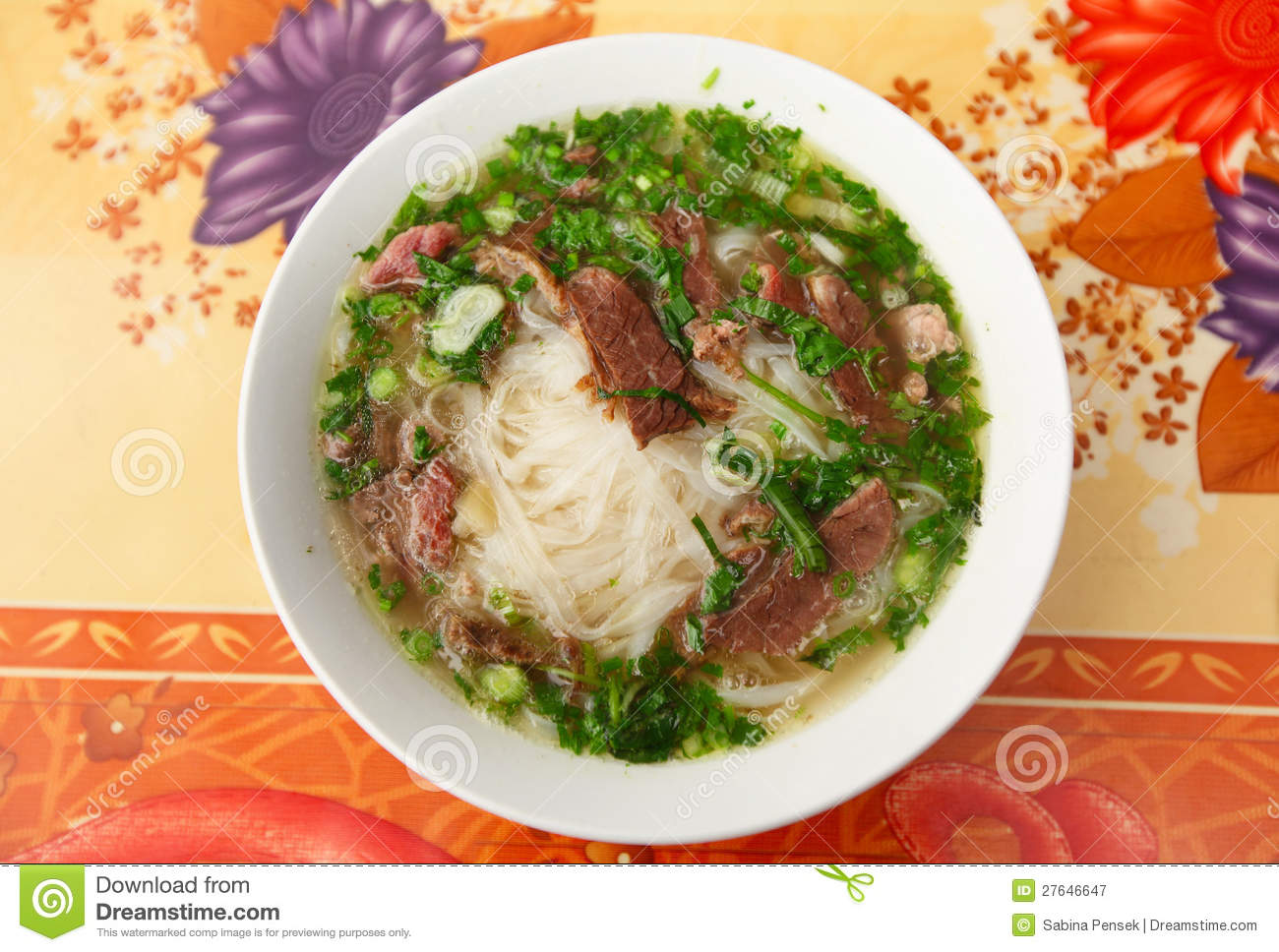 Free Stock Photography  Pho Vietnamese Soup With Meat And Noodles