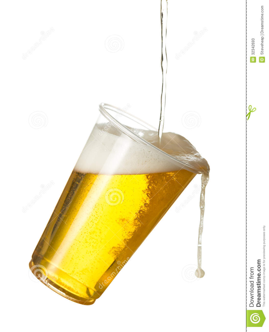 Golden Beer Ale Or Lager In A Tilting Plastic Disposable Cup Or Glass