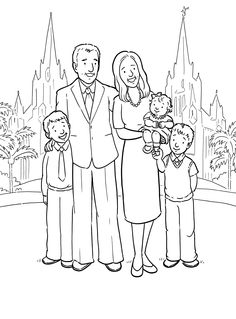 Happy Family At The San Diego Temple  A Primary Coloring Page From