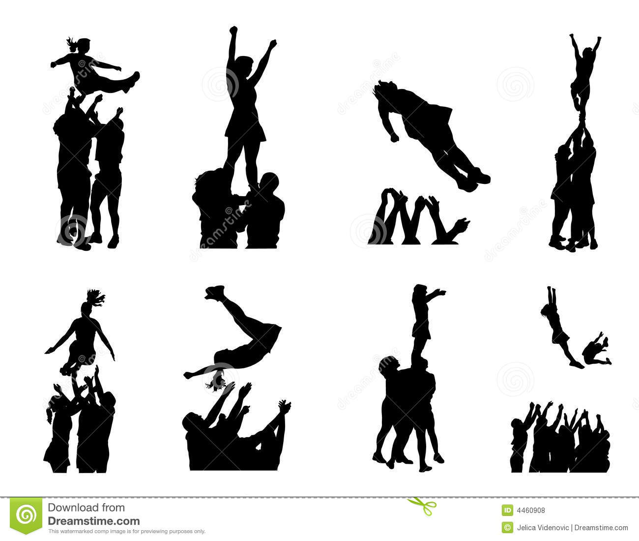 Illustration Of Cheerleaders Silhouettes    Girls