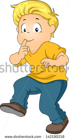 Kid Boy Tiptoeing With His Pointing Finger On Lips Indicating Silence