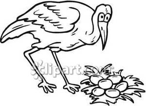 Nest Clipart Black And White Black And White Crane With Nest Eggs