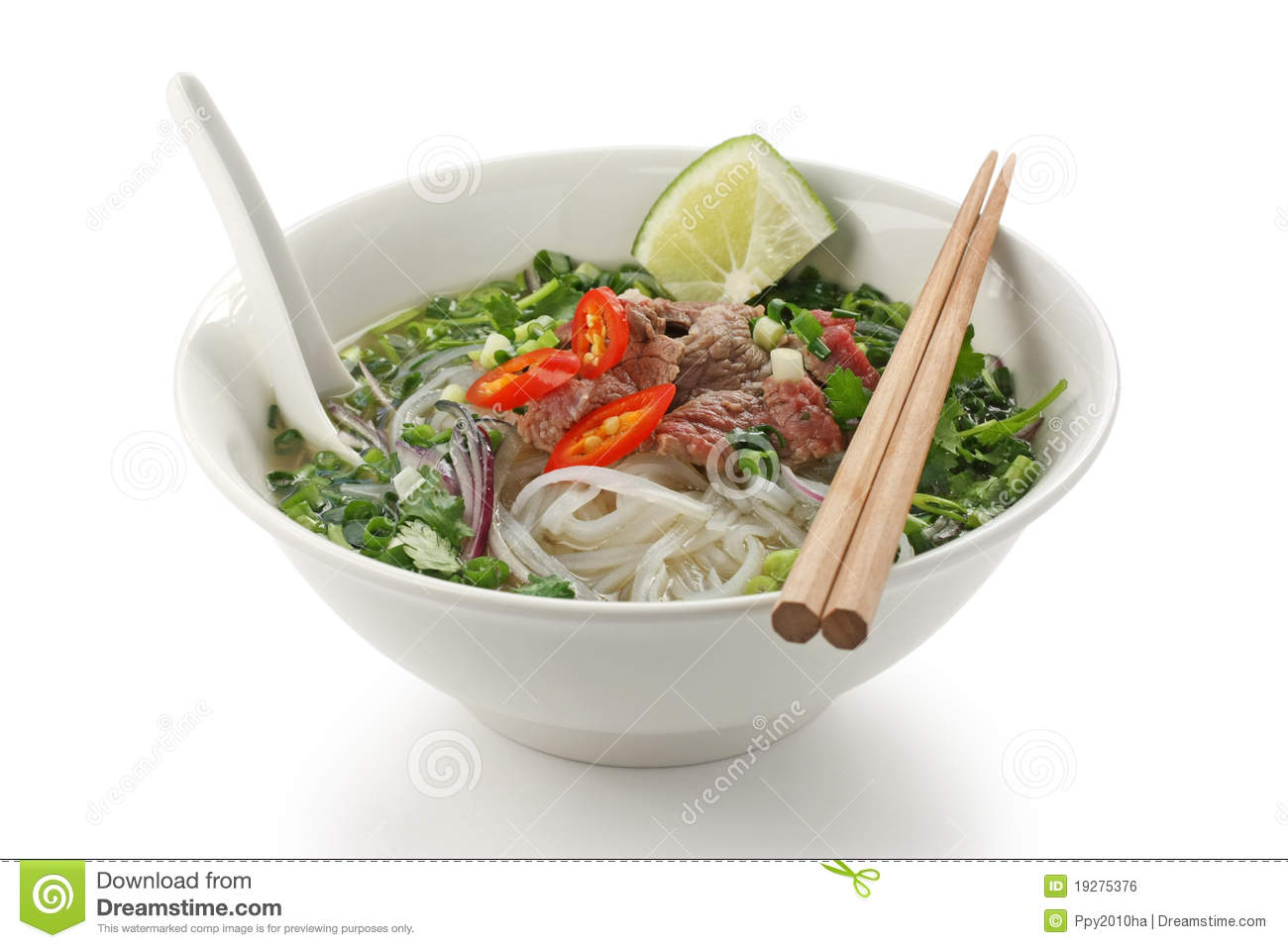Pho Bo  Vietnamese Rice Noodle Soup With Sliced R Royalty Free Stock