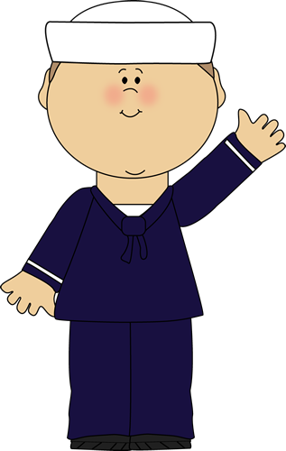 Sailor Waving Clip Art Image   Boy Sailor In Blue Sailor Uniform And