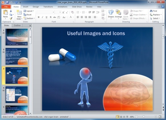 Vital Organ Powerpoint Template With Brain Scan Animation   Powerpoint