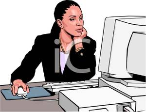 American Woman Working On A Computer   Royalty Free Clipart Picture