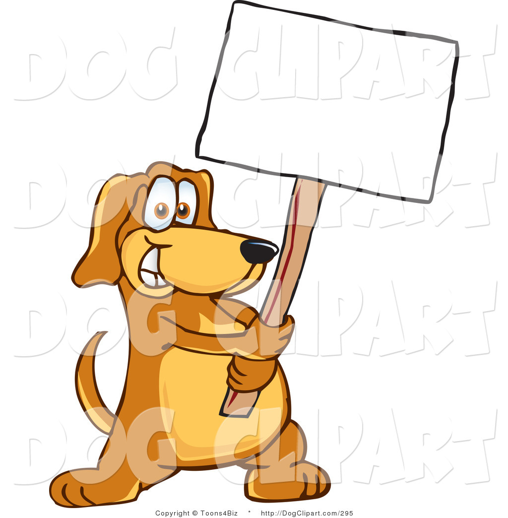 Art Of A Brown Dog Mascot Cartoon Character Holding A Blank White Sign