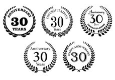 Black And White Anniversary Laurel Wreaths Stock Photography