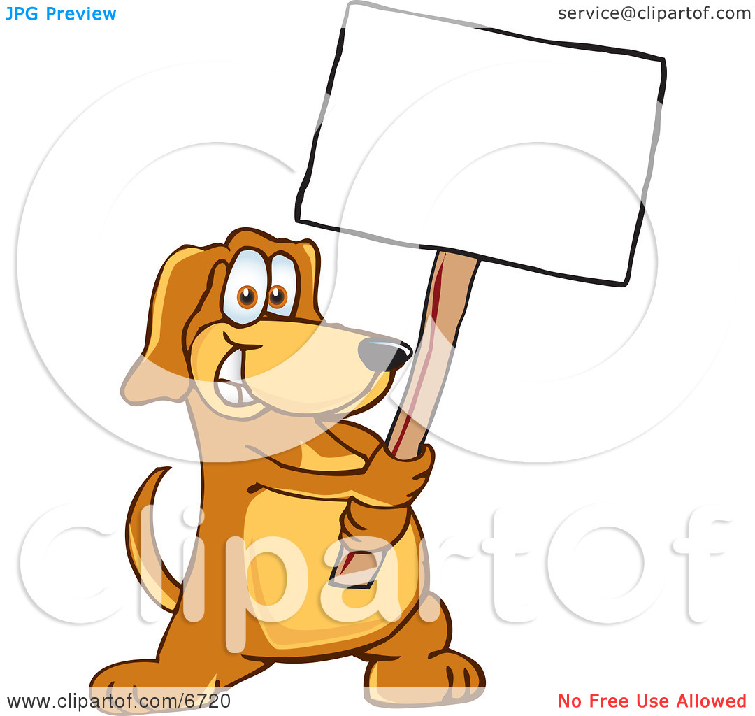 Brown Dog Mascot Cartoon Character Holding A Blank White Sign Clipart