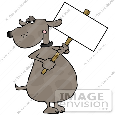 Clipart Of A Brown Dog With Spots Holding Up A Blank White Sign His