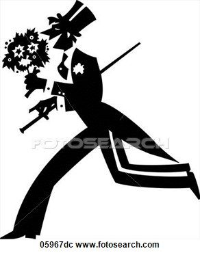 Clipart Of Man Wearing Tuxedo Carrying Flowers Cane Also Available