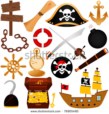 Colorful Vector Theme Of Pirate Equipments Sailing    76905490