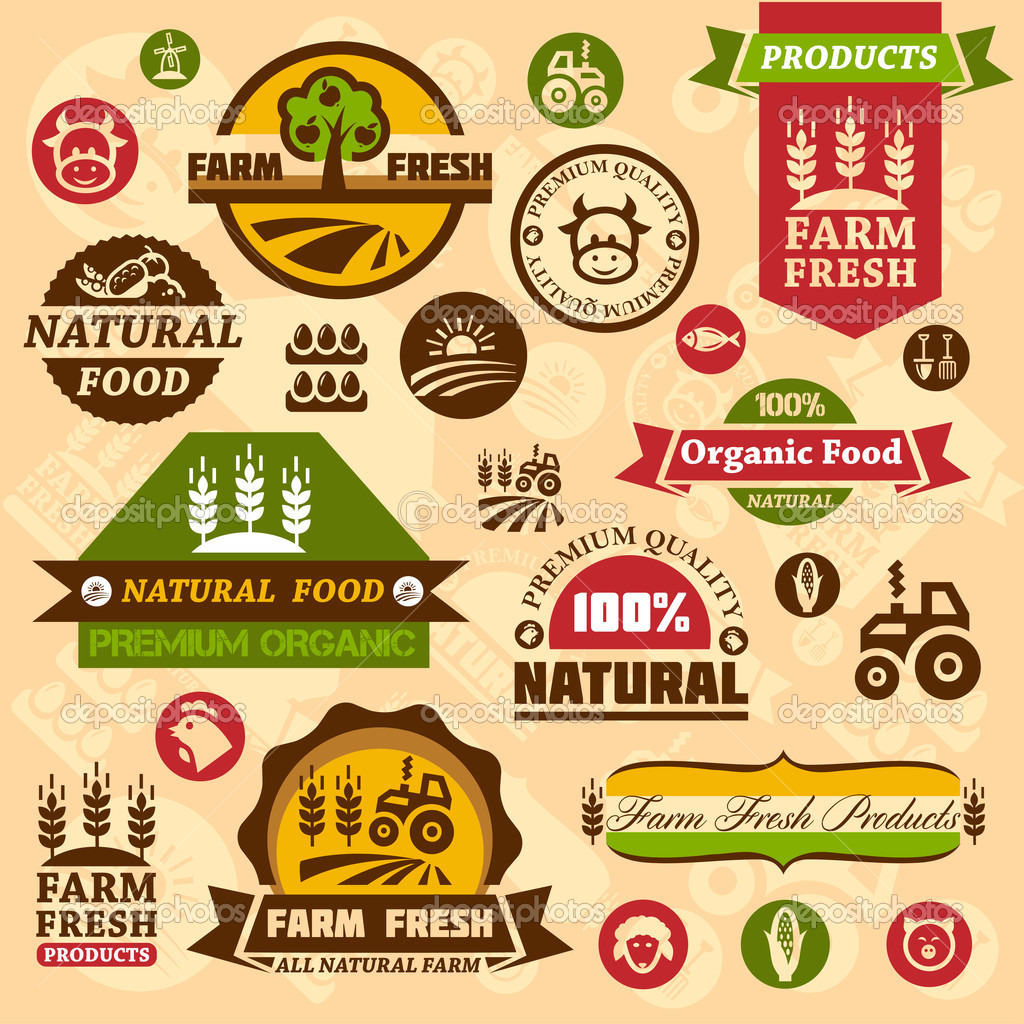 Farm Logo Labels And Designs   Stock Vector   Chistoprudnaya