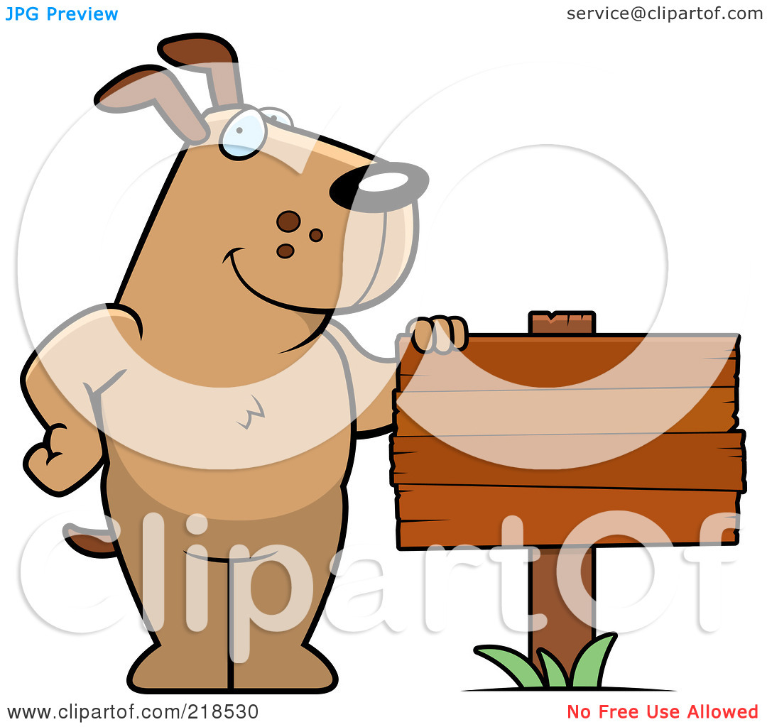 Free  Rf  Clipart Illustration Of A Brown Dog Standing Beside A Blank