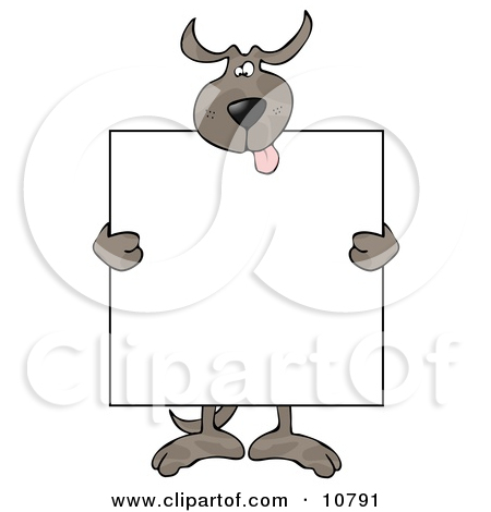 Happy Dog Holding A Blank Sign Clipart By Dennis Cox  10791