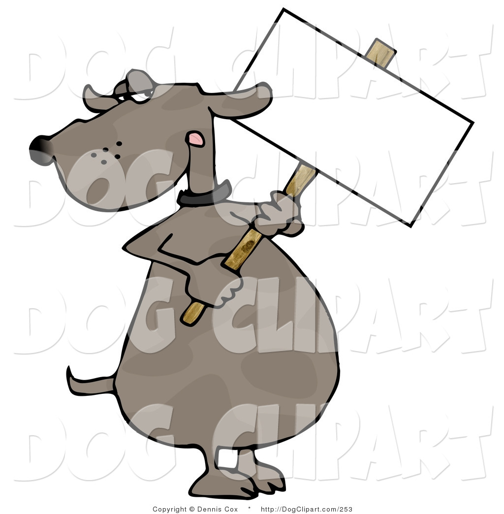 Human Like Dog Holding A Blank Picket Sign Brown Dog Mascot Cartoon